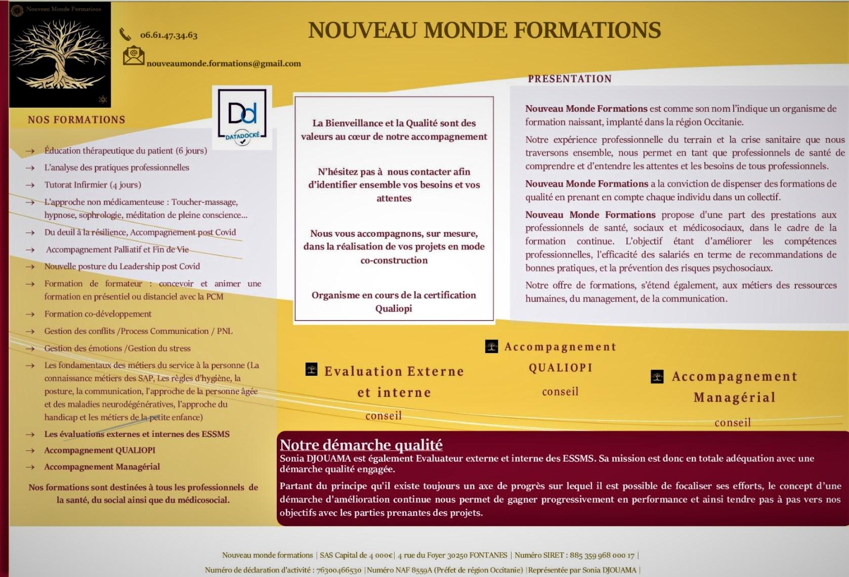 Nouveau Monde Formations.présentation